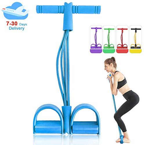JOYXEON 4-Tube Naturlatex Sit-up Bodybuilding Expander Fußpedal Zugseil Widerstandsband Übung Yoga Sportausrüstung Fitness Tube (Blau)
