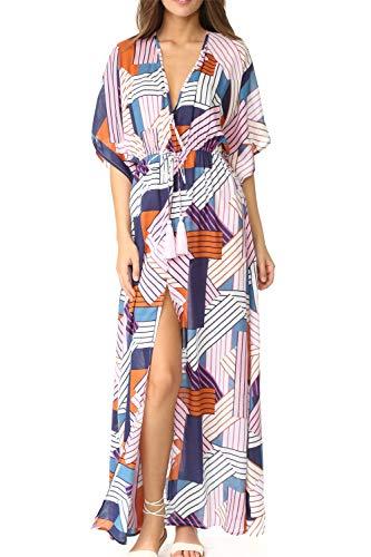 L-Peach Vestido de Playa Kimono Pareo Kaftan Maxi Pareos Bikini Cover Up para Mujer