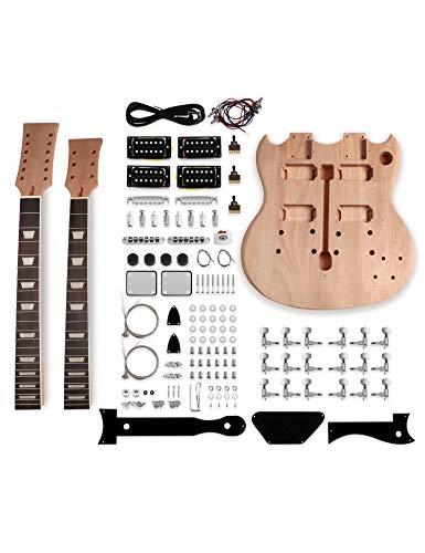 Metallor Double Neck DIY Electric Guitar Kit with Mahogany Body Mahogany...