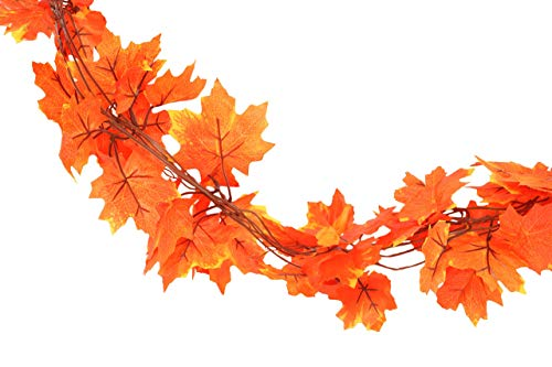 Forever Flowers Fall Leaves Garland Decoration (10 Strands) | Each Vine 6.5ft of Beautiful Autumn Colored Leaves for Indoor/Outdoor Fall Decor