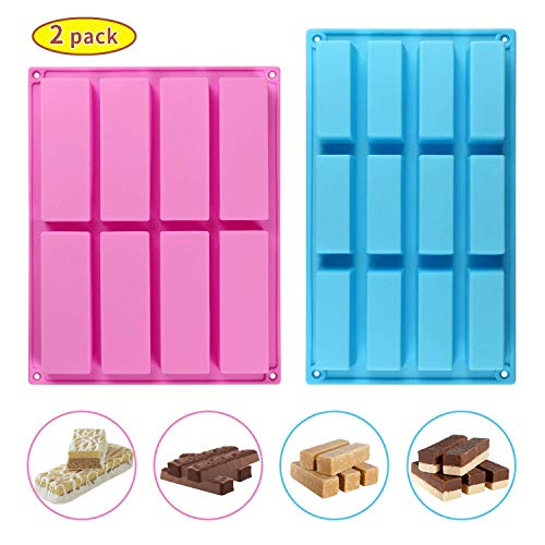 Candy Bars Chocolate Bars Molds Silicone - 8-Cavity + 12 Cavity BPA Free Food Grade Nonstick Candy Molds Silicone Chocolate Molds Pack of 2