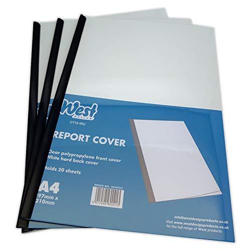 West Design RS600251 West-Klemmschienenhüllen, fester Rückendeckel zum schnellen und einfachen Zusammenheften von Unterlagen,weiß