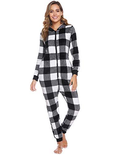 iClosam Damen Jumpsuit Schlafanzug Pyjama, Pyjamas Nachtwäsche Strampelanzug Schlafoverall Ganzkörperanzug Hausanzug Herbst und Winter Hausanzug Overall Mit Kapuze und Reißverschluss (S-XL)