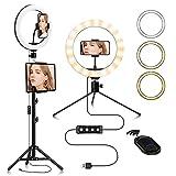 Delgeo Luz de Anillo LED,Aro de Luz de 10.2' con Control Remoto Bluetooth, 130CM Trípode, 3 Modos de Luces, 10 Brillos Regulable para Móvil Selfie, Fotografía, Maquillaje, Youtube, TIK Tok Live