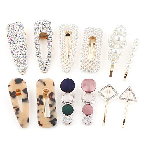 Makone Clips de Perles Femmes, Pinces à Strass, Variété de Pinces à Cheveux 12PCS de Pinces à Cheveux pour Femmes Combinées Barrette de Cheveux Accessoires