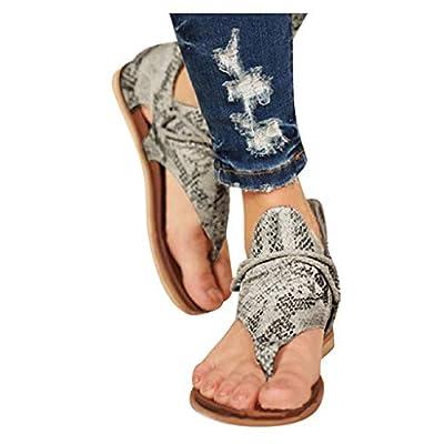 Flip Flop Sandals for Women, Zyqzw Women's Leopard/Zebra/Snake Print Retro Flat Sandals with Zipper on The Back Flat Summer Shoes