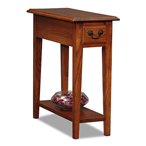 Leick Solid Wood Side End Table with Storage Drawer and Shelf, Small, Narrow, Accent Table, Hand...