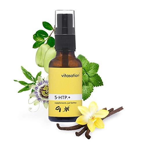 5-HTP.+ Mund-Spray mit 5-HTP (Griffonia Simplicifolia) + Zitronenmelisse + Passionsblume für 30 Tage I Vegan mit natürlichen Inhaltsstoffen & Vanille-Geschmack I Vorstufe von Serotonin