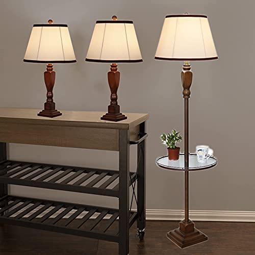LXHLDD Juego De 3 Lámparas para Sala De Estar con Bandeja De Vidrio, 2 Lámparas De Mesa + 1 Juego De Lámpara De Pie, Decoración Ideal para El Hogar/Dormitorio
