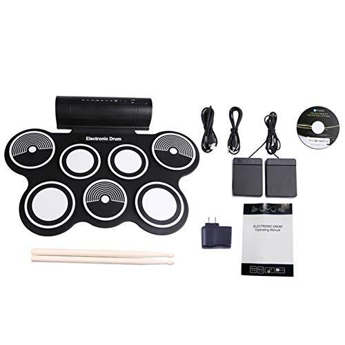 Weiming Conjunto portátil de batería electrónica con Altavoz de Doble Tambor 7 Almohadillas y 2 Pedal para para Niños, Principiante, Adulto
