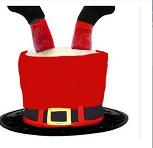 Use un Sombrero Navideño Cómodo no tejidas de Navidad Hat for festival de espesor de terciopelo Suministros Tela creativa de la chimenea Tiara Sombrero de Navidad Decoración de Navidad, Negro Rojo Múl