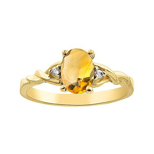 Juego de anillos de citrino y diamante chapados en oro amarillo y plata