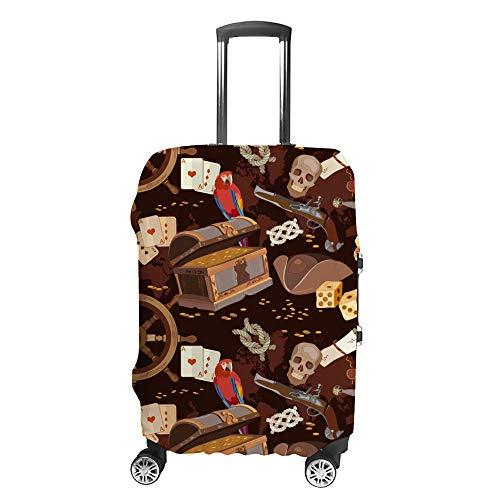 Ruchen - Funda protectora para maleta, diseño de pirata retro, color marrón