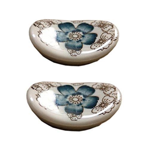 4 St?ck Keramik Hashioki B?nkchen L?ffel-Gabel-Halter, Blau Blume