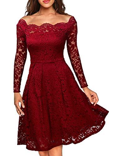 MIUSOL Damen Vintage 1950er Off Schulter Cocktailkleid Retro Spitzen Schwingen Pinup Rockabilly Kleid Rot XL
