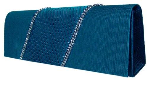 DIVA-MODE Edle Abendtasche,Clutch,Strass,26x9 cm, Blau