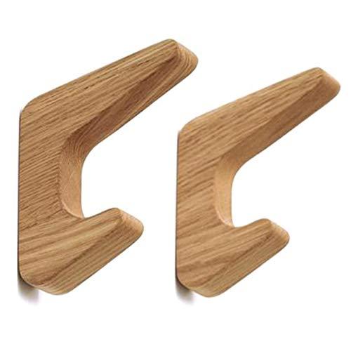Gesh 2 perchas de madera natural para colgar ropa, estilo japonés, para colgar abrigos, colgadores, sombreros, bufandas, bolsos de mano