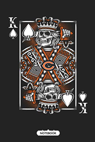 Chicago Bears Spade King Of Death Card NFL Football Notebook NFL Notebook Weekly Planner Lined Notebook Journal.