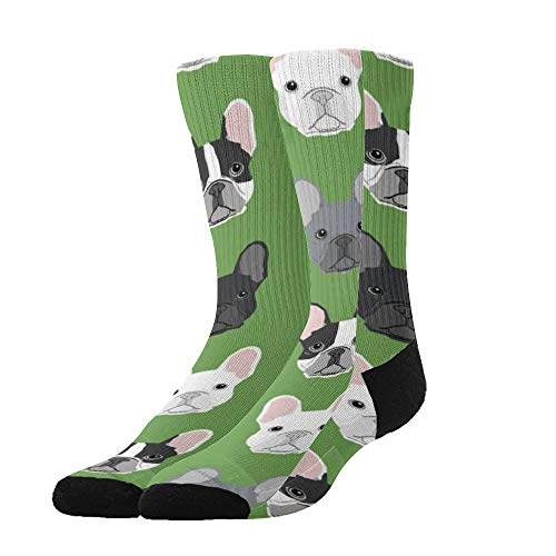 NiYoung Women Men Soft Casual Funny Crazy Mid-Calf Boot Socks Fashion Novelty Dress Socks Breathable Sports Compression Socks - Green Frenchie Dog