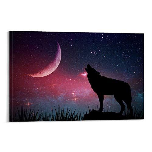 ERTYG Cuadro decorativo para pared, diseño de lobo con luna, 60 x 90 cm