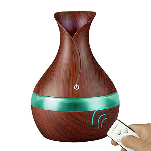 Huahua 300Ml Aroma Essential Oil Ultrasonic Diffuser Air Humidifier With Wood Grain 7 Color Change Led Lights For 3 Fagrance Types