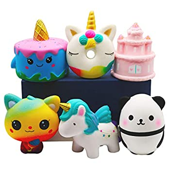 YOAUSHY 6Pcs Squishies Toys Sets Jumbo Squishy Slow Rising Unicorn Cake,Unicorn Donut,Pink Kawaii Cake,Ice Cream Cat,Horse,Panda Great Carnival Prizes Treasure Box Classroom Party Favors for Kids