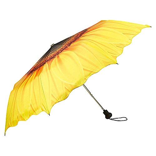 VON LILIENFELD Regenschirm Taschenschirm Stabil Leicht Auf-Automatik Damen Motiv Wellenkante Sonnenblume