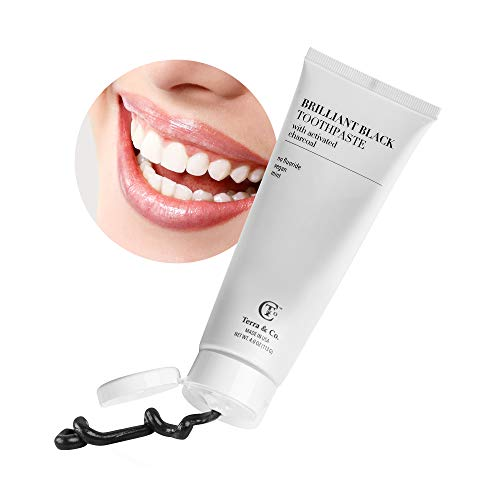 Brilliant Black Toothpaste for Teeth-Whitening, Natural Ingredients with Activated Charcoal for Whiter Teeth (Baking Soda, Coconut Oil, Peppermint Essential Oil, Tea Tree Oil, Xylitol) - Terra and Co.