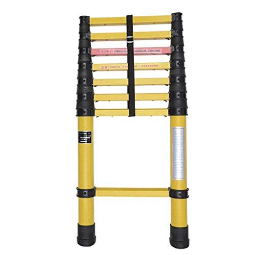AA-SS-Ladder Escalera de extensión de Fibra de Vidrio Escaleras telescópicas Ligeras, Altas y no conductivas, Resistentes y con protección para los Dedos, 2m-5m (Tamaño: 5M)