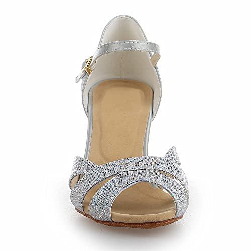 JIA JIA Y2054 Damen Sandalen Ausgestelltes Heel Super-Satin mit Pailletten Latein Tanzschuhe Silber, 42 - 5