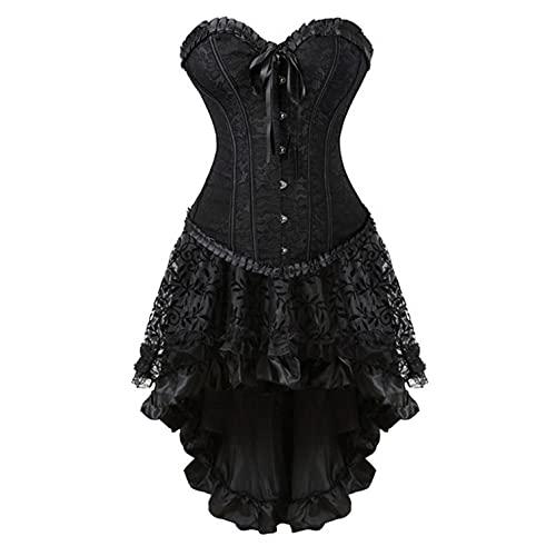 BIBOKAOKE Korsett Kleid Damen Steampunk Corsagenkleid Sexy Spitze Gothic Bustier Vintage Corsagentop mit asymmetrischer Spitzenrock Rockabilly Kleid Damen Festlich Elegant Cosplay Kostüm
