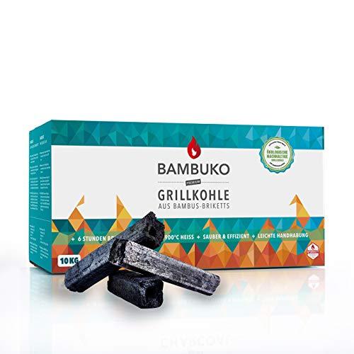 BAMBUKO Grillkohle von McBrikett, Bio Bambuskohle, 10kg Grillbriketts aus Bambus, rauchfrei gesund grillen