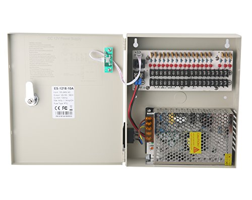 18 Channel DC12V 20 Amp Reset Fuse CCTV DC Distributed Power Box with AC Plug and Lock for Security Cameras, DVRs, CCTV Power Supply