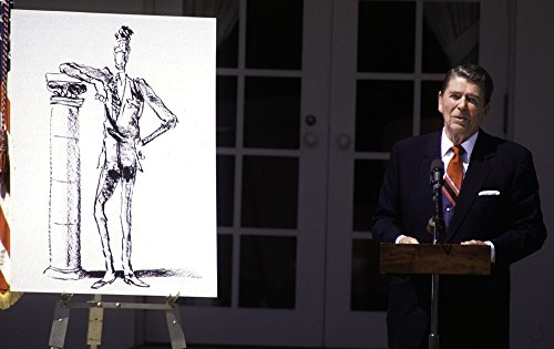 Ronald Reagan standing next to a cartoon sketch Photo Print (30 x 24)