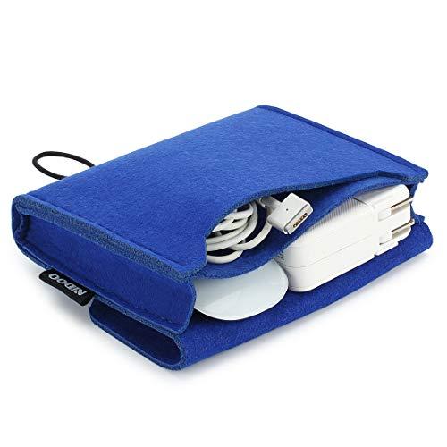 NIDOO Funda de fieltro para adaptador de MacBook, ratón, teléfono móvil, cable, SSD, carcasa de disco duro, batería externa y más accesorios, color azul