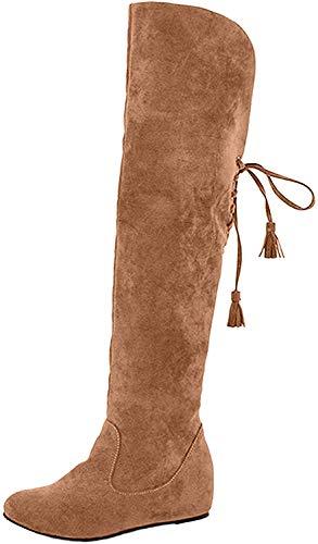 Minetom Mujer Invierno Moda Calentar Botas De Nieve Slouchy Botas De Piel Cargadores De La Rodilla Caqui EU 37