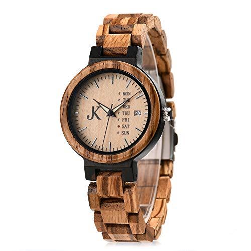 Kim Johanson Damen Holz-Edelstahl Armbanduhr *Light Week* mit Datum- & Tagesanzeige Handgefertigt Quarz Analog Uhr inkl. Geschenkbox
