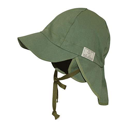 PICKAPOOH Baby/Kinder Sonnenhut/Sonnenmütze Tom mit UV-Schutz aus Reiner Bio-Baumwolle, Olive, Gr. 46