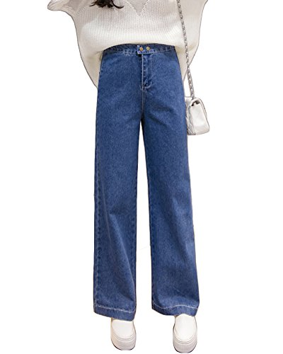 ZongSen Donna Vita Alta Casual Jean Pantaloni Larghi Elasticizzati Comodo Denim Pantaloni Gamba Larga Casual Baggy Jeans Blu Marino M