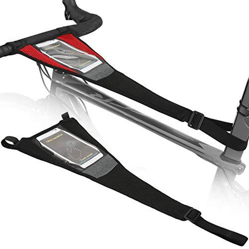 LINGSFIRE Cubierta de sudor para bicicleta con bolsa de teléfono, 2 unidades universal para el sudor de la bicicleta, correas de sudor lavables, resistente al sudor, marco de red para entrenador