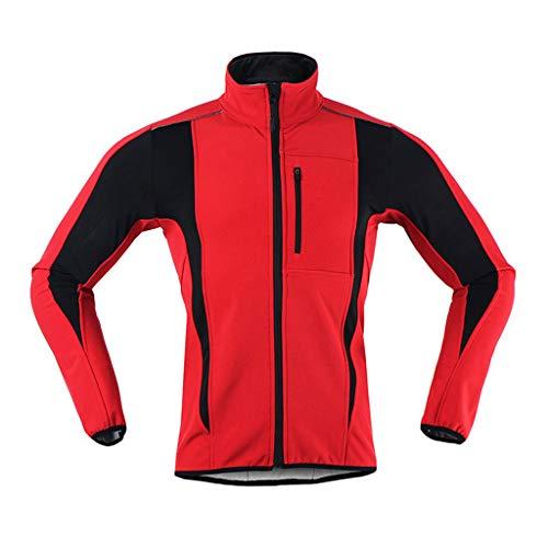 Fahrradjacke Damen Winter Thermo Winterjacke Winddichte Wasserdicht Atmungsaktiv Gut Sichtbare Radjacke Fahrrad Jacken für Radfahren Joggen Wandern,Rot,M