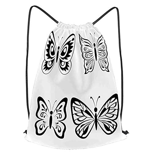 fudin Unisex Wasserdicht Kordelzug Rucksack Set Schmetterlinge monochrome schwarze Piktogramme Symbole Turnbeutel Sporttasche für Yoga Freien Schule Strand Schwimmen