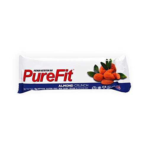 PureFit Protein Bar - All-Natural, Gluten-Free, Non-GMO, Vegan Protein Bars - Meal Replacement Bar - Almond Crunch Bar, 2oz (Pack of 15)