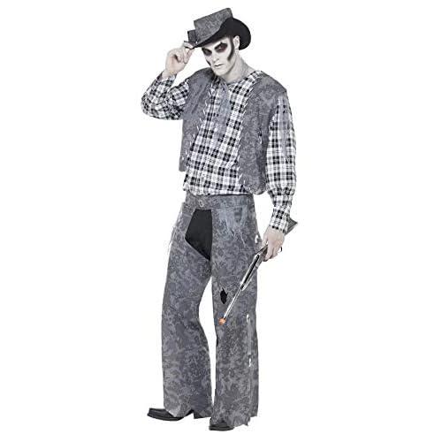Smiffy's - Costume da Cowboy Zombie, Uomo, Taglia: M, Colore: Grigio