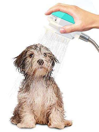 ZONSUSE Hundedusche Haustier Duschkopf, Haustier Dusche Sprayer Multifunktionales Hundedusche Sprayer Handheld Pet Bürste 2 in 1 Haustier Badewerkzeug und Schrubber, für Hund, Katze (Blau)