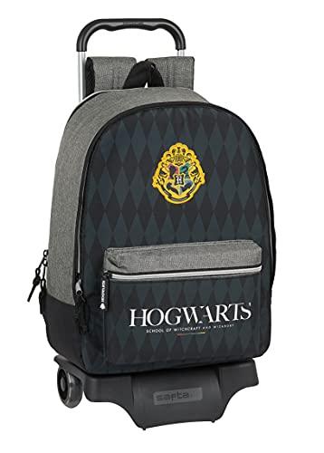 Safta Mochila 596 con Carro 905 Harry Potter Hogwarts, 320x140x430 mm, Negro/Gris