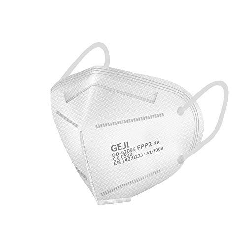 SOYES FFP2 Maske CE Zertifiziert-20 Stück, Atemschutzmaske Mehrschichtige Staubschutzmaske für Erwachsene Mund-und Nasenschutz(Weiß)