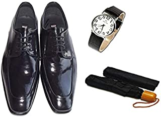 Eray Kundura Klasik Siyah Düz Erkek Ayakkabısı + Kol Saati + Şemsiye