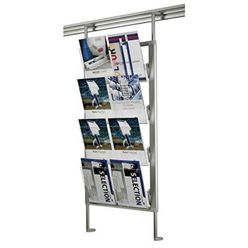 Legamaster 7-325600 Prospektregal für Legaline Dynamic Wandschienensystem, 8 Fächer im DIN-A4 Format, eloxiertes Aluminium