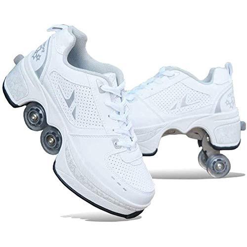 Automatische Walking Schoenen Onzichtbare Multifunctionele Vervorming Roller Schoenen Dubbele Rij Vervormen Wiel Pulley Schoenen Schaatsen Quad Schaatsen Outdoor Sport Voor Volwassenen Kind